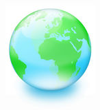 Crystal earth. Green land and blue sea -- crystal earth on white background Stock Photo
