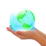 Crystal earth in hand. Green land and blue sea -- crystal earth in hand Royalty Free Stock Photo