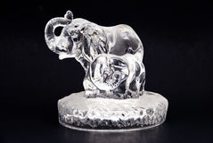 Crystal Elephant. W/ baby elephant isolated on Black depicting family, love and care Royalty Free Stock Image