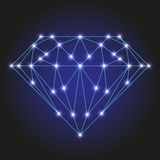 Crystal or faceted gem from polygonal blue lines, glowing stars  illustration Stock Photos