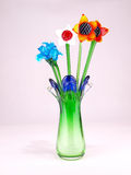 Crystal Flowers Front. Crystal flowers in green vase front view royalty free stock images