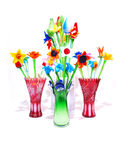 Crystal Flowers Vases Variety FP. Grouped colorful crystal flowers vases variety front profile stock photos