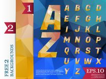 Crystal Font polygonal alphabet Background geometric pattern of Royalty Free Stock Image