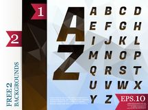 Crystal Font polygonal alphabet Background geometric pattern of. Triangles.eps.10 Royalty Free Stock Photo
