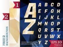 Crystal Font polygonal alphabet Background geometric pattern of. Triangles.eps.10 Stock Image