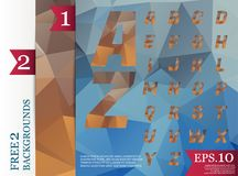 Crystal Font polygonal alphabet Background geometric pattern of. Triangles.eps.10 Royalty Free Stock Images