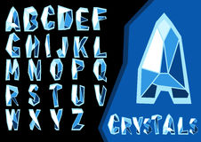 Crystal font. Vector decorative font. Glittering blue letters, look like ice or crystal. Can be used for advertisement, games, or mobile apps stock illustration