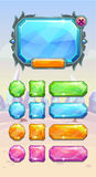Crystal game user interface assets. On the winter fantasy background. Bright diamond colorful buttons and panel for web or GUI design. Vector illustration vector illustration
