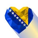 Crystal gem jewelry Bosnian Herzegovinian heart with the flag of Bosnia-Herzegovina Royalty Free Stock Images