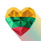 Crystal gem jewelry heart with the flag of the Republic of Lithuania. Stock Image