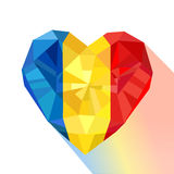 Crystal gem jewelry heart with the flag of the Romania. Royalty Free Stock Photography