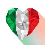 Crystal gem jewelry Italian heart with the flag of the Italian Republic. Royalty Free Stock Photography