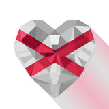 Crystal gem jewelry Saint Patrick`s Saltire heart with Saint Patrick`s Flag. Royalty Free Stock Photo