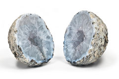 Crystal geode divided in two parts Stock Images