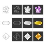 Crystal Geometry Shape Set Cristalli colorati nel poligono Geometri royalty illustrazione gratis