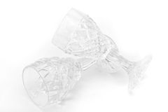 Crystal Glass. Two wine crystal glass on white stock images