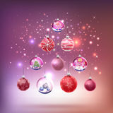 Crystal glass balls set with christmas gifts as tree Royalty Free Stock Image