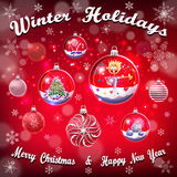 Crystal glass balls set with christmas gifts Royalty Free Stock Image