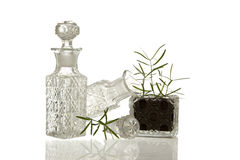 Crystal glass bottles and plant Royalty Free Stock Images