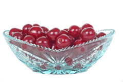 Crystal glass bowl with cherries Stock Photography
