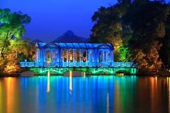Crystal glass bridge at dusk Royalty Free Stock Images