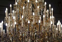Crystal glass chandelier Stock Photography