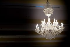 Crystal glass chandeliers Royalty Free Stock Images