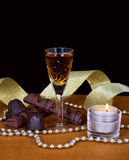 Crystal glass of cognac Royalty Free Stock Photography