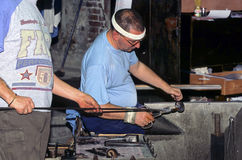 Crystal glass factory in Venice. Crystal glass factory craftsmen making process, in Venice, Italy Stock Photos