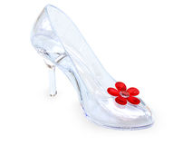 Crystal glass female shoe. High heel female shoe of crystal glass with red flower on white background. High resolution 3D image Royalty Free Stock Images