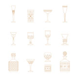 Crystal glass icon set Stock Images