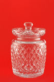 Crystal Glass Jar. With lid empty and isolated Royalty Free Stock Images