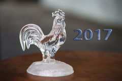Crystal glass rooster, declorated chicken royalty free stock photos