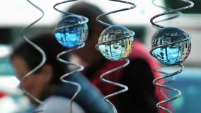 Crystal glass sphere. Art Toy stock video footage