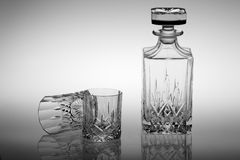 Crystal glass wine set. This is a crystal glass bottle and two crystal glass goblet. perfect material and exquisite production technology, so that everybody Stock Images
