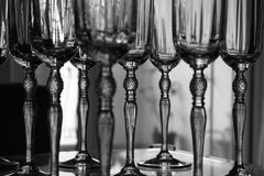 Crystal Glasses. B/w Stock Photos