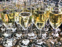 Crystal glasses with champagne Royalty Free Stock Images