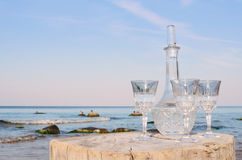 Crystal glasses and decanter Stock Images