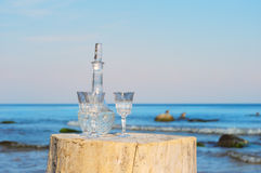 Crystal glasses and decanter Stock Photography