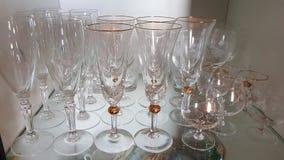 Crystal glasses on a shelf stock photography