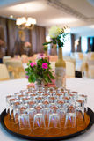 Crystal glasses on a table. In restaurant Stock Images