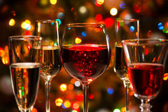 Crystal glasses of wine Royalty Free Stock Images