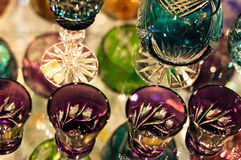 Crystal glassware. Quality Crystal glassware on display Stock Photo