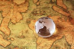 Crystal Global on old map. Crystal Global on old retro map stock photography