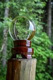 Crystal globe in forest Royalty Free Stock Photos