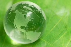 Crystal globe on green leaf Royalty Free Stock Images