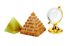 Crystal globe, the pyramid of stone Stock Photography