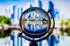 Crystal globe reflection Stock Photo