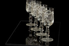 Crystal goblets at line Stock Photos