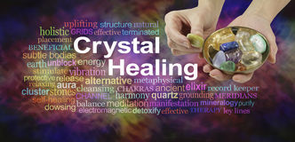 Crystal healing word cloud royalty free stock photos